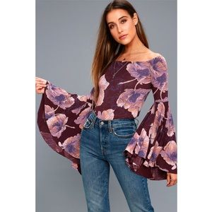 Free People BIRDS OF PARADISE OFF-THE-SHOULDER TOP